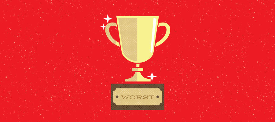 """Trophy inscribed with """"Worst"""""""