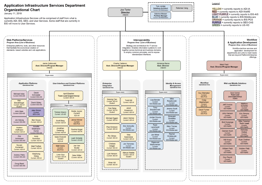 Application Infrastructure Services organization chart