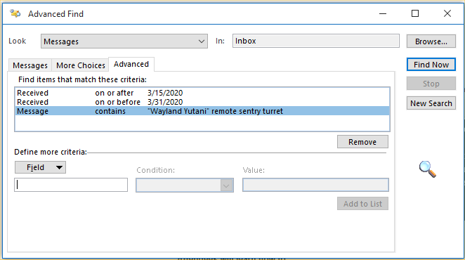 Outlook's advanced find feature's advanced tab