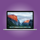 MacBook Pro on purple background