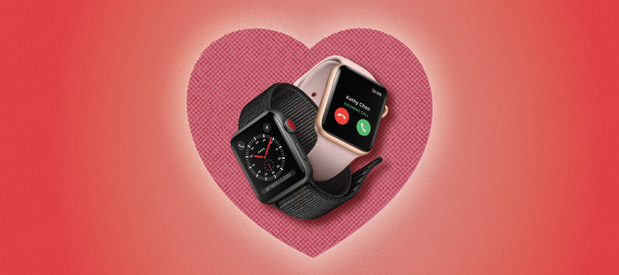 Apple Watches on a Valentine's Heart