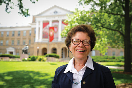 Chancellor Rebecca Blank in front of Bascom Hall.