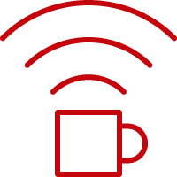 Line art image of a coffee cup with WiFi signals instead of steam