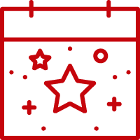 Line art image of a calendar with an star and confetti