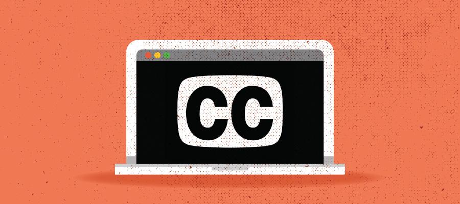 Laptop displaying closed captioning icon