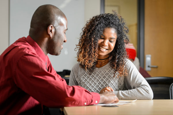 A student works with an advisor at UW-Madison.