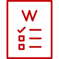 Line art image of a sheet of paper with a W and a checklist