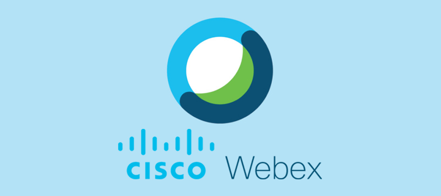 Cisco Webex Meetings logo on a blue background