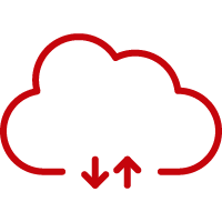 Line art image of a cloud with arrows going up and down
