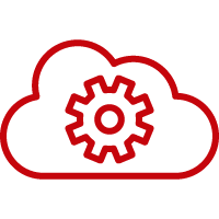 Line art image of a cloud with a gear