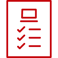 Line art image of a piece of paper with a computer and checklist on it