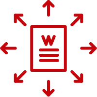 Line art image of a W document with arrows going outward in every direction
