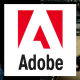 Adobe logo with man's face artwork and skateboard artwork on either side