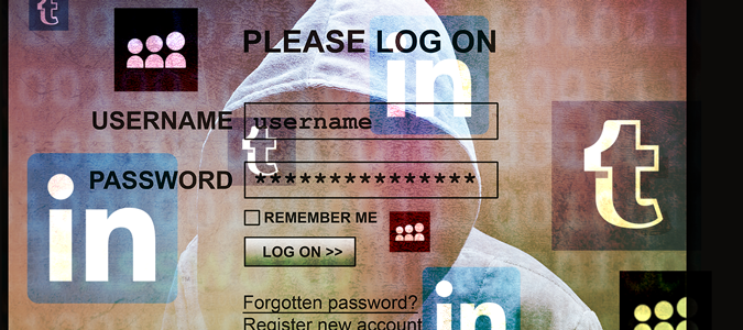 LinkedIn, Myspace, Tumblr icons on an account login screen.
