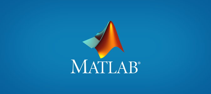MATLAB logo on a blue background