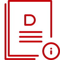 Line art image of a stack of documents with a letter D and an information button