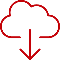 Line art image of a cloud with a down arrow