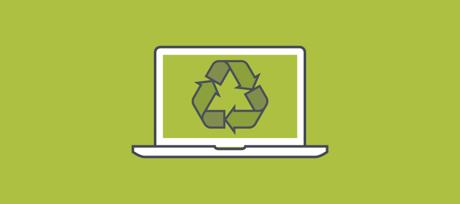 Laptop displaying recycling symbol