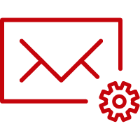 Line art image of an envelope with a gear