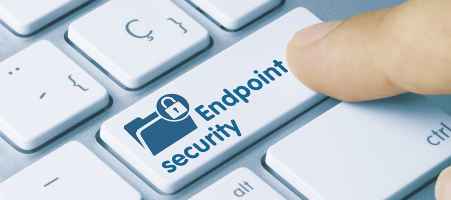 """Computer keyboard with button that reads """"Endpoint Security"""""""