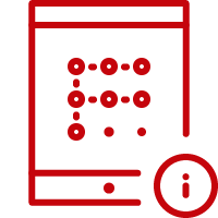 Line art image of a tablet with the letter F and an information button