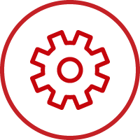 Line art image of a gear in a circle