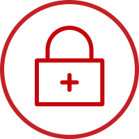 Line art image of a lock with a red cross in a circle