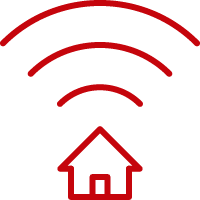 Line art image of a house with a WiFi signals extending out of the roof
