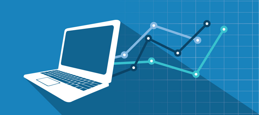 laptop and an abstract of a line chart on a blue background.