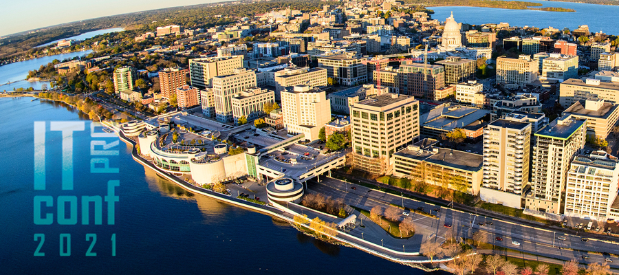 """""""IT Pro Conf 2021"""" over the top of an aerial image of downtown Madison."""