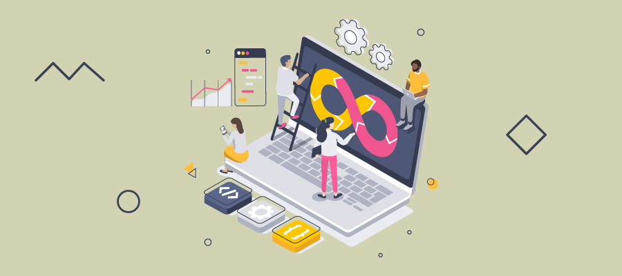Illustration of people working with a laptop