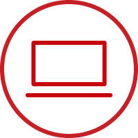 Line art image of a laptop computer in a circle