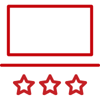 Line art image of laptop with three stars