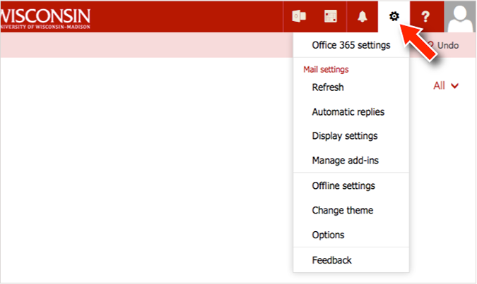 screenshot of the Office 365 email client settings menu