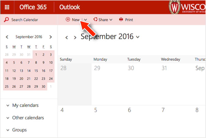 "screenshot of office 365 calendar client, with a mouse pointer hovering over the ""new"" meeting button."