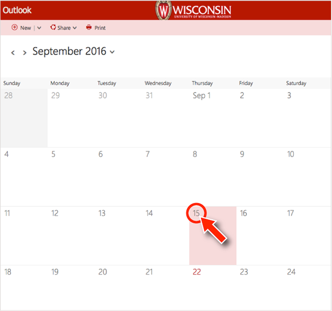 screenshot of the Office 365 calendar showing a mouse pointer hovering over a date, to schedule a meeting.