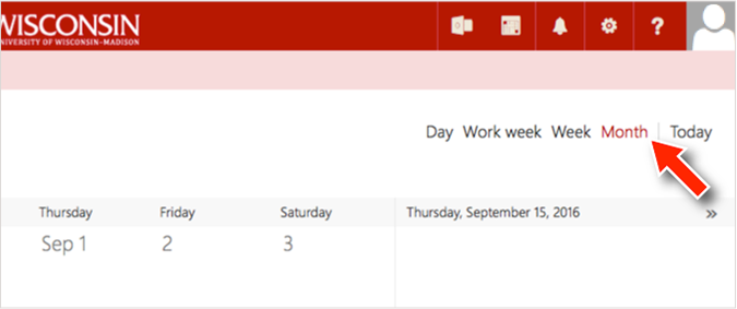 screenshot of Office 365 Calendar showing the mouse pointer hovering over the links to change the view from day to week to month