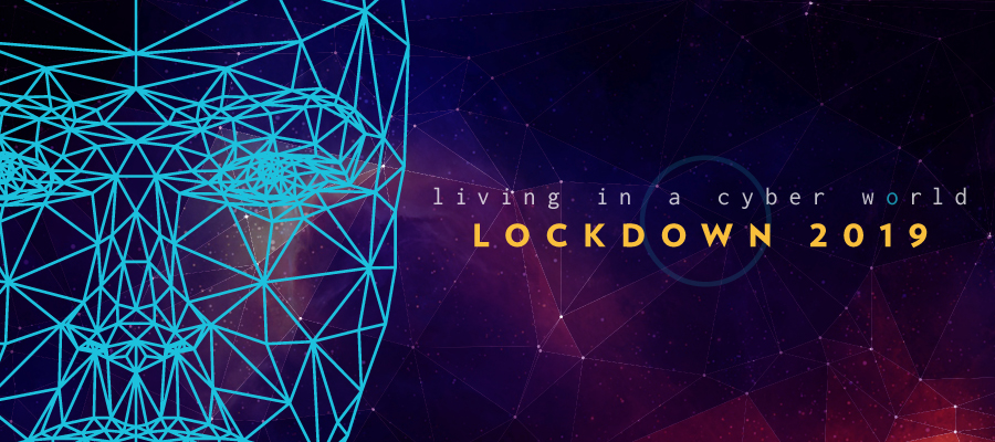 "Human face made of a polygonal mesh with text, ""Living in a cyber world, Lockdown 2019"""