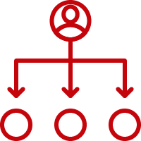 Line art image of a simplified organization chart with a person on top