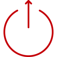 Line art image of an up arrow breaking through the top of a circle
