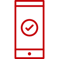 Line art image of a mobile phone with a check mark on the screen