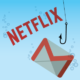 Netflix and Gmail logos underwater with fish hook