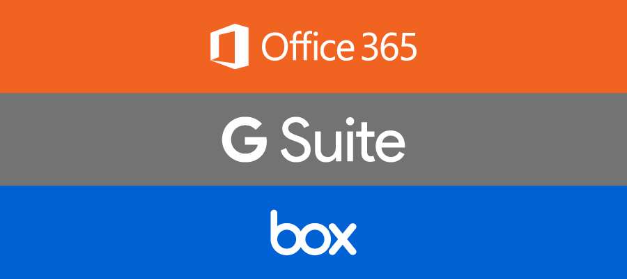 Office 365 logo, G Suite logo, box logo