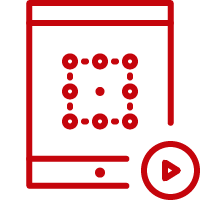Line art image of a tablet with the letter O and a play button