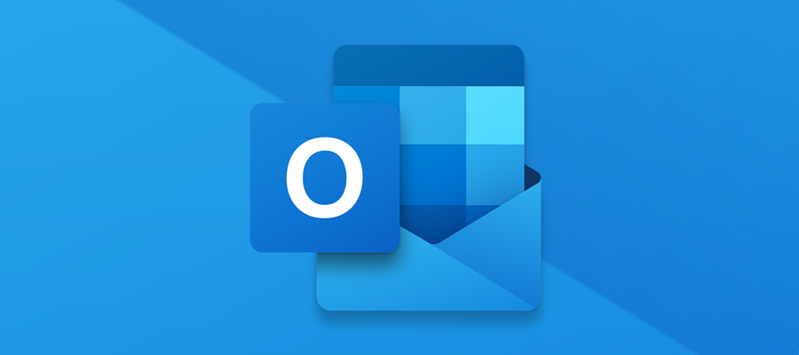 Microsoft Outlook icon on a blue background