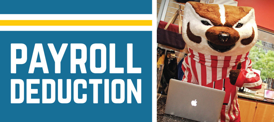 Payroll Deduction. Bucky Badger with MacBook Air