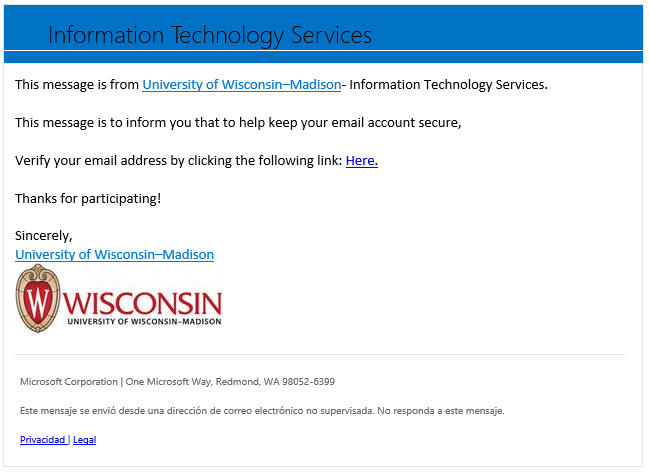 screenshot of a second variant of a phishing campaign email