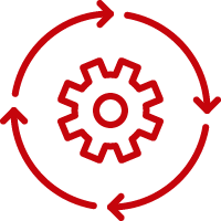 Line art image of a gear encircled by arrows