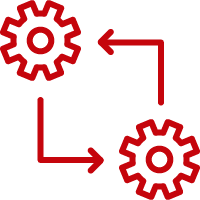 Line art image of two gears with arrows in an Iterative process