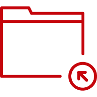 Line art image of a file folder with an arrow pointing into the folder